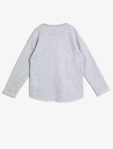 Koton Kids Yazili Baskili Sweatshirt Gri
